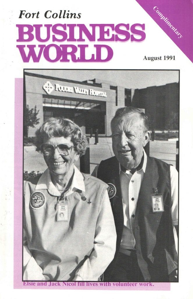 the couple pictured in front of the hospital on the front cover of a 1991 local news magazine.
