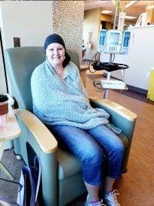Mary during chemo treatment