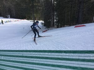 Waverly Gebhardt competes in a cross country ski race.