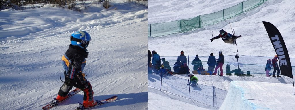 Cael McCarthy is showing skiing in these photos.
