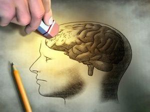 An illustration shows someone erasing brain cells to symbolize brain damage.