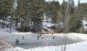 skaters on a pond