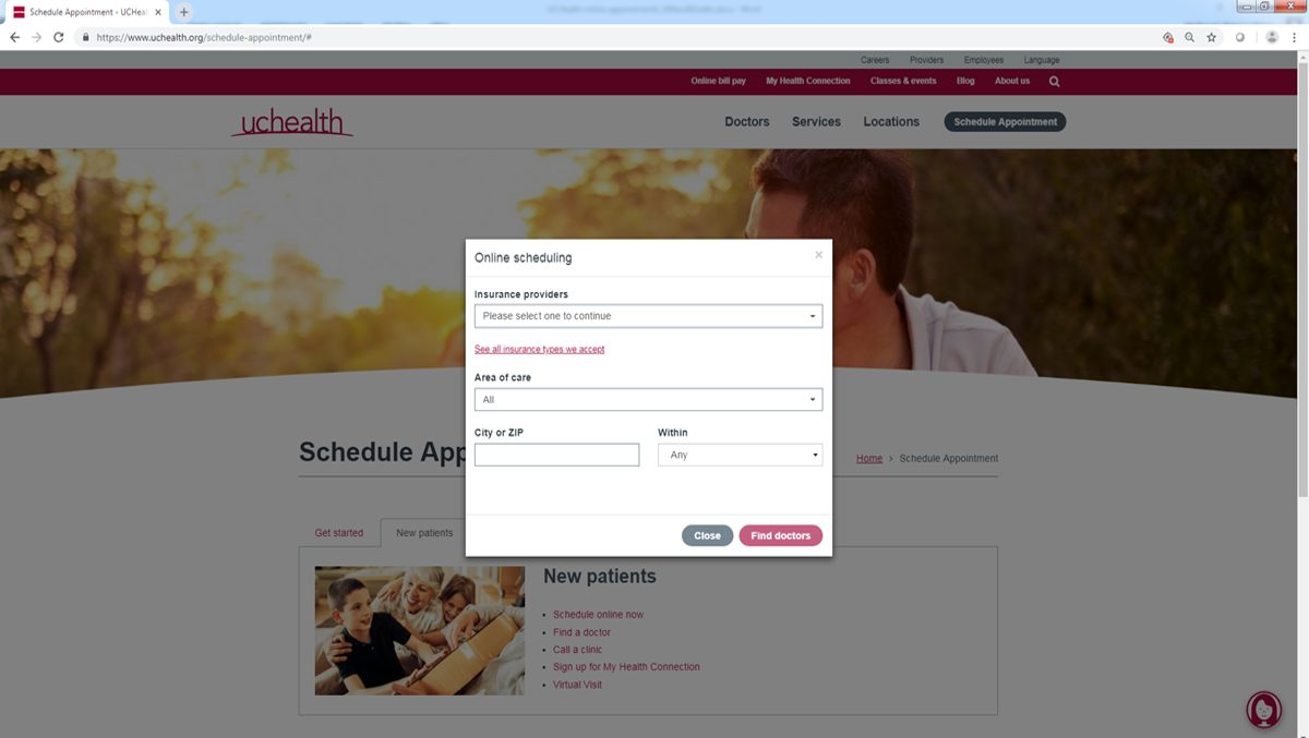 A graphic showing online scheduling