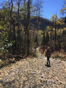 In this photo, Phyllis stands along Spring Creek trail in Steamboat Springs.