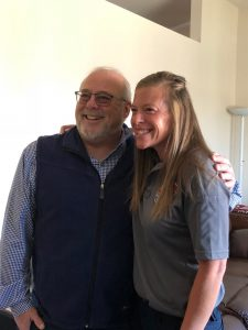A photo of Bob Waddell with Kirstin Buchanan, a charge nurse at Memorial Hospital.