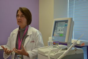 Dr. Laura Pomerenke, a breast surgeon at UCHealth Memorial Hospital's Mary Lou Beshears Breast Care Clinic, explains the cryoablation procedure.