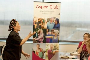women talking during longmont seniors program