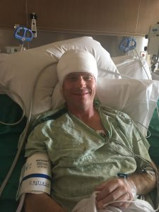 This is a photo of Todd Danielson following brain surgery at UCHealth University of Colorado Hospital.