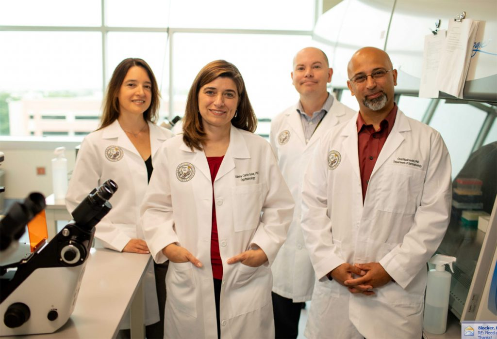 The original Ocular Stem Cell and Regeneration Program team at CU. Clockwise from left: Dr. Valeria Canto-Soler, Dr. Natalia Vergara, Dr. Brzezinski, and Dr. Omid Masihzadeh. Photo courtesy of Dr. Valeria Canto-Soler.