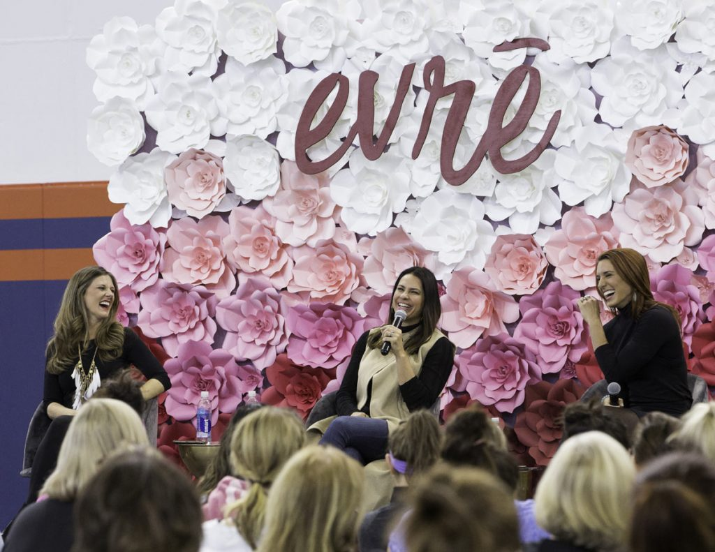 Amy Jo Martin, left, spoke at evre, a UCHealth women's health event just two months before Lincoln's emergency birth at a UCHealth hospital.