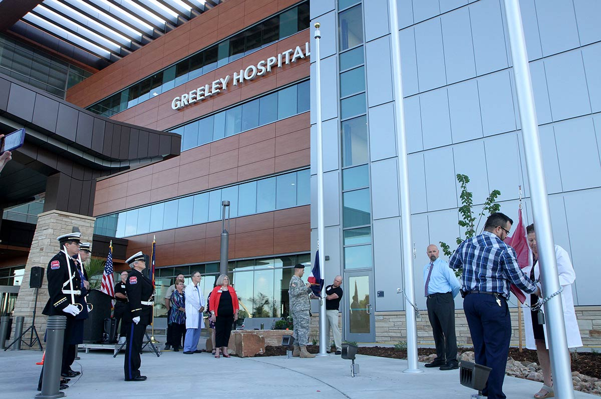 flag raising ceremony at Greeley Hospital Opening