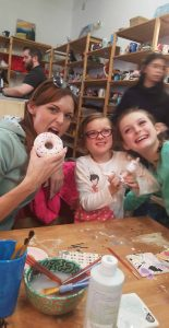 Sarah Hugo and her daughters enjoy a moment with creative arts.