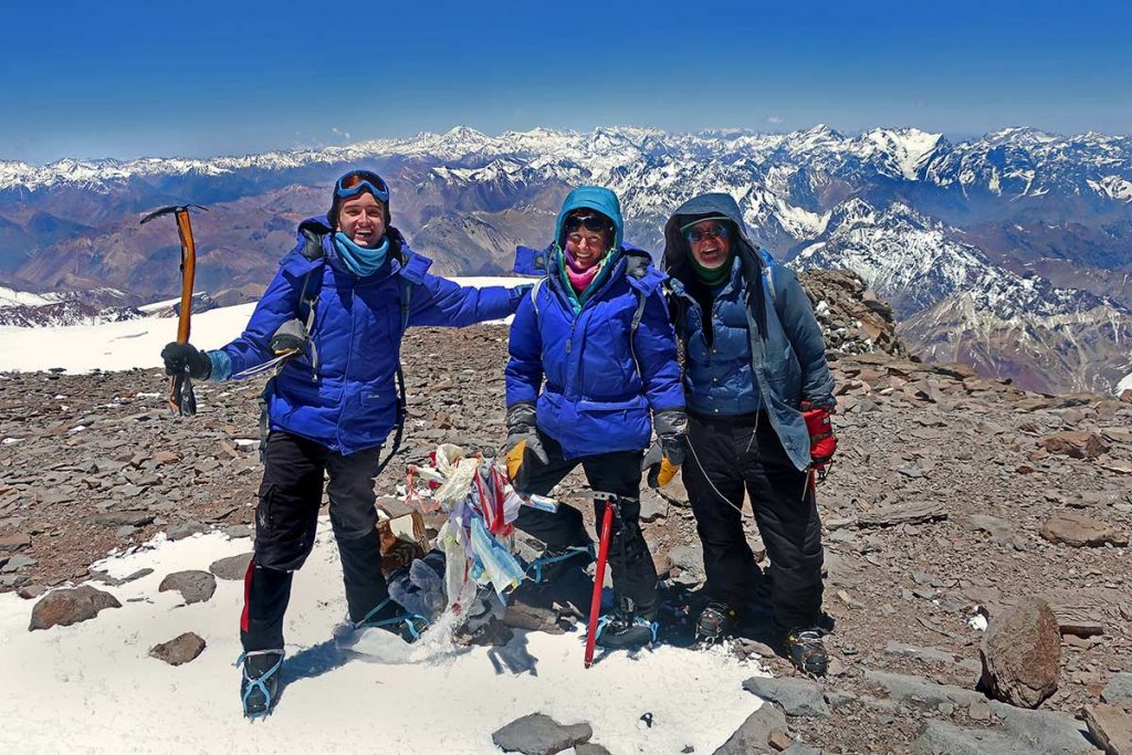 The three members of the Boardman family on the summit of Aconcagua