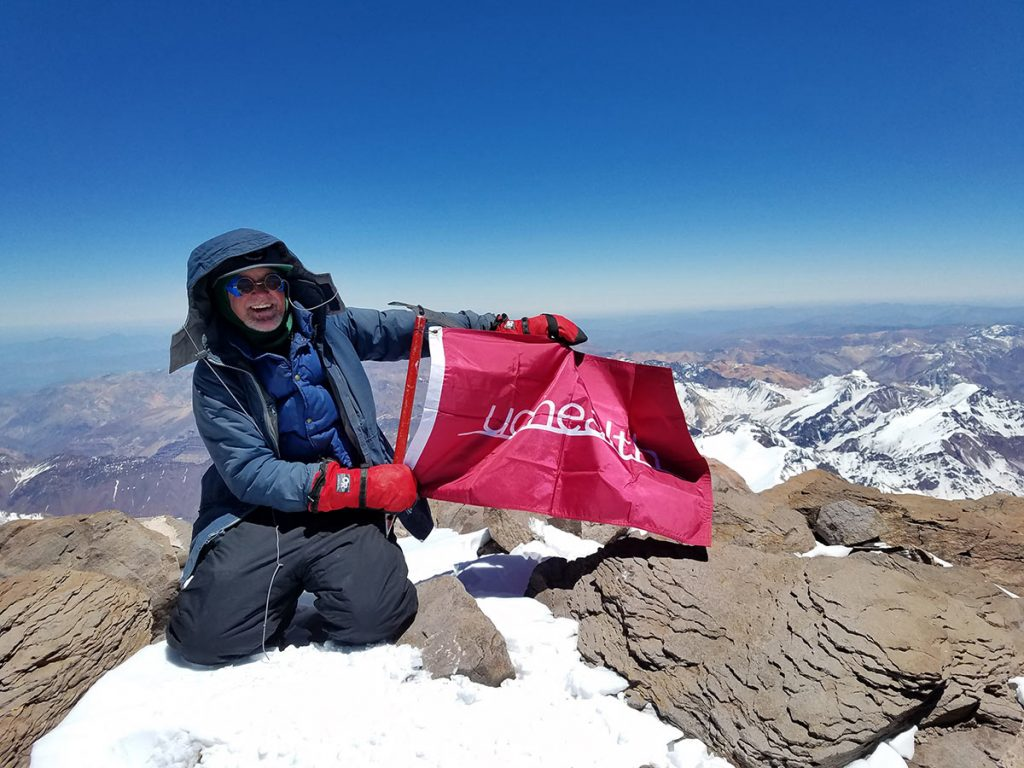 Joe Boardman on the summit of Aconcagua