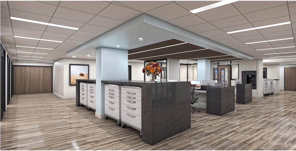 This is a rendering of the care team space that will be in UCHealth Yampa Valley Medical Center's emergency department following renovation.