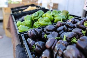 An array of colorful purple and green peppers
