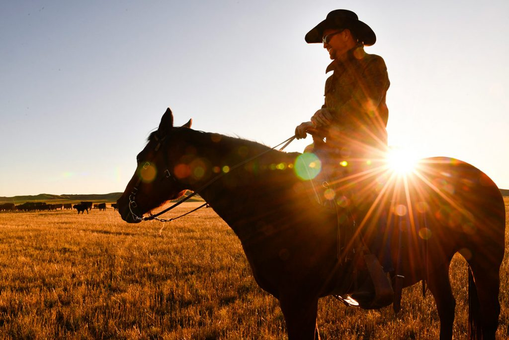 Nathan Kissack rides his horse Dixie on his parents' ranch in Wyoming as the sun sets behind him.