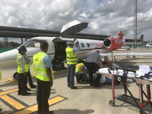 An air ambulance brings Abbey Alexander home to Colorado after she suffered severe burns in Cambodia.