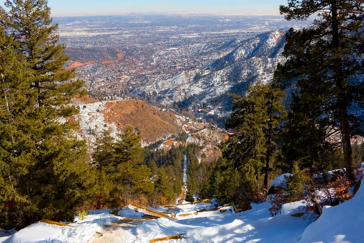 snow covered view of the manitou incline from the top.