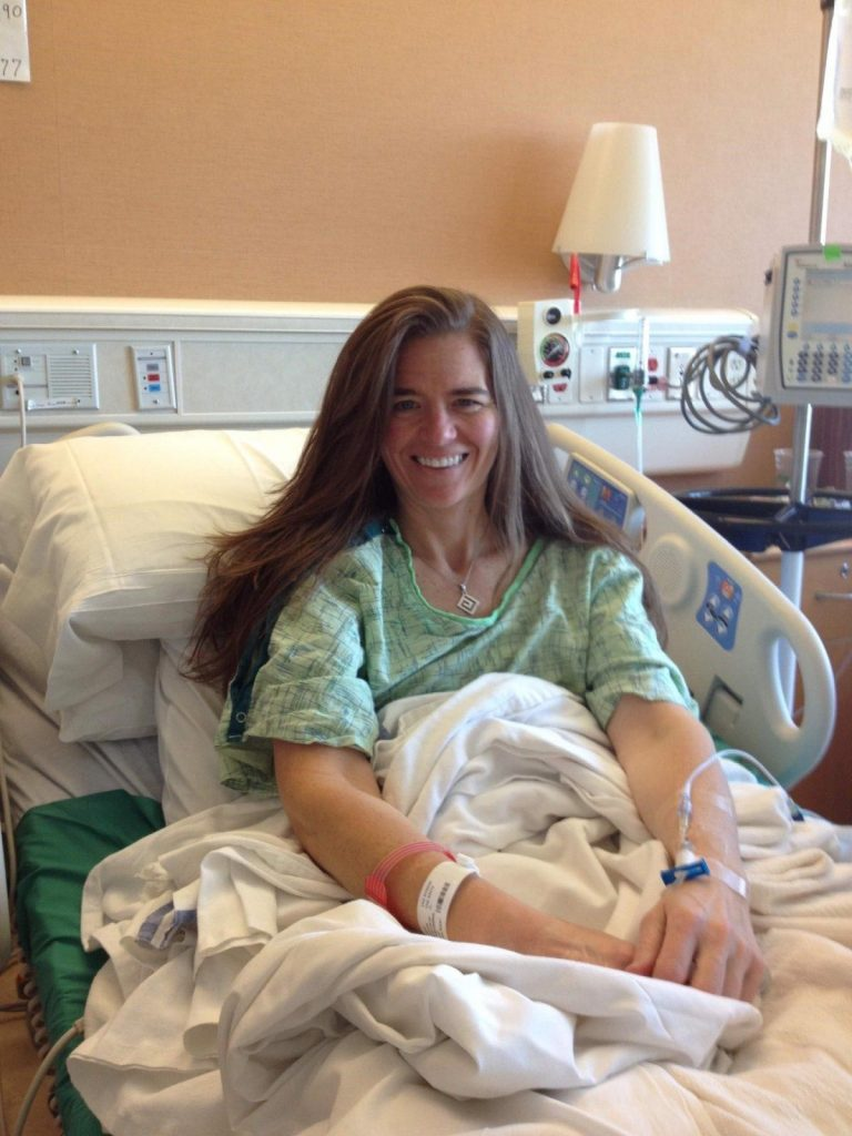 Marybeth Hoffman after her first surgery for pancreatic cancer.