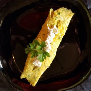 mindful cooking and eating can help you relax. Try making this simple omelet with goat cheese.