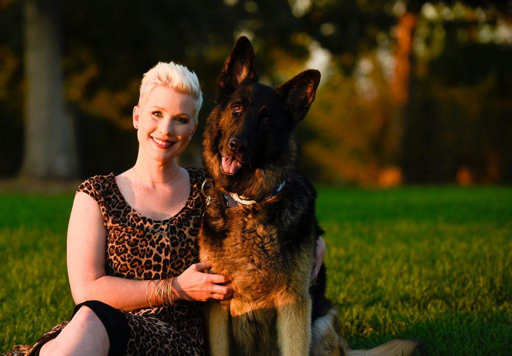 Lauren with her beloved dog, Kane.