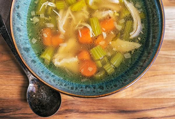 chicken soup five ways - chicken broth with veggies