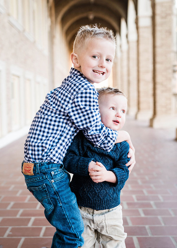 George Sears, 6, with his little brother, Tilman, now 2.