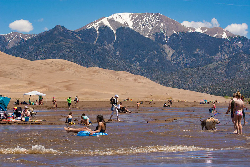 In the spring, Medano Creek flows in the sand and makes for a perfect Colorado beach.
