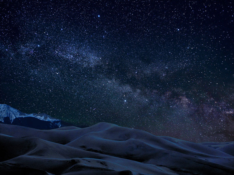 Milky way over Great Sand Dunes National Park at night