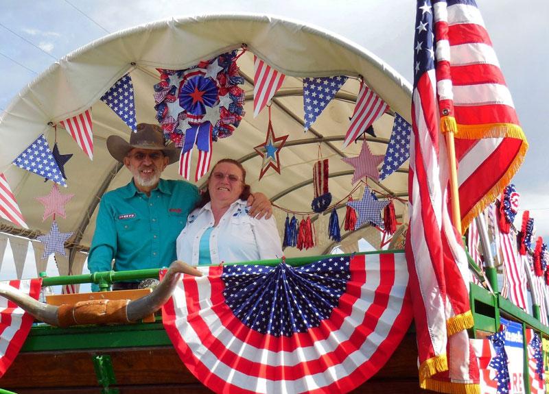 Jack and Tina Silva in their patriotic float.