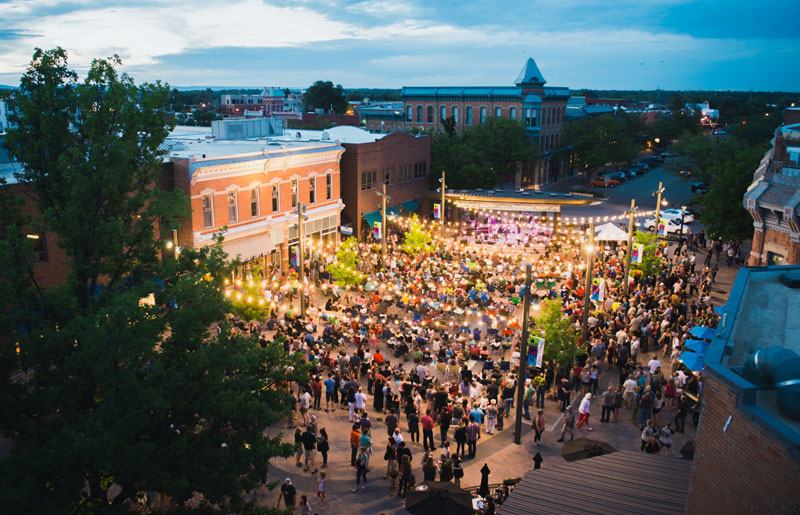 Arial view of a full Fort Collins Old Time Square during live music event, which is a free thing to do in northern Colorado during the summer months.