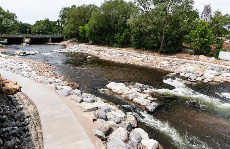 whitewater park along the poudre trail is one of the free things to do in northern Colorado.