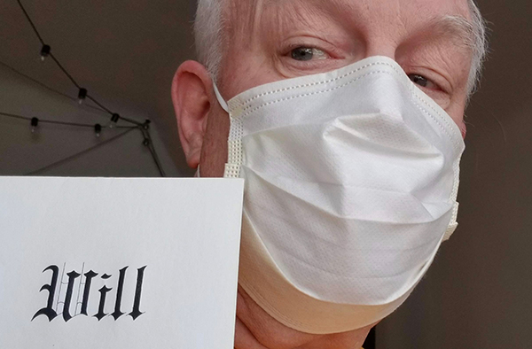 Bill St. John with his medical mask and a will