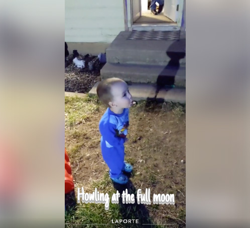 small boy howls at 8 p.m. in Laporte, Colorado, one way people are connecting during covid pandemic.