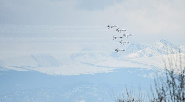 Fighter jets with the Thunderbirds flew over UCHealth Medical Center of the Rockies to honor health workers who are fighting the COVID-19 pandemic.