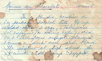 one of our favorite Mother's Day recipes in mom's handwriting and on a note card
