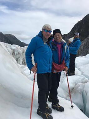 Jim Page and wife Ginny stand on a glacier in New Zealand just months after surgery at UCHealth removed a cyst in the pancreas.