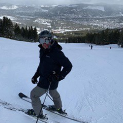 man on skis after cysts in the pancreas removed.