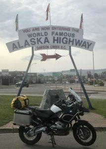 A photo of the World Famous Alaska Highway sign at Dawson Creek, B.C.