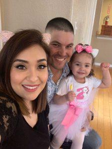 Erika Ibuado at home with husband Sergio and daughter Scarlett. Photo courtesy of Erika Ibuado.