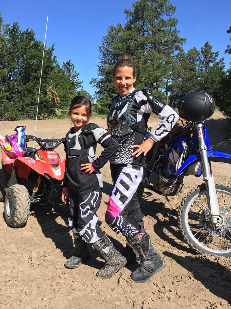 Carly and her daughter in motocycle gear. Carly got heart failure after her pregnancy with her daughter.