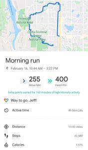 running app photo shows Jeff Greve's route after a Sunday run with his therapists.