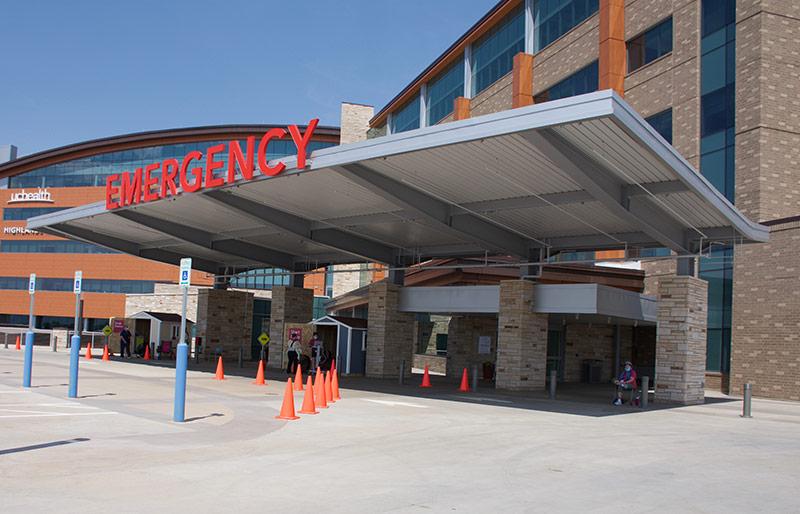 Highlands Ranch Hospital drive-thru testing site.
