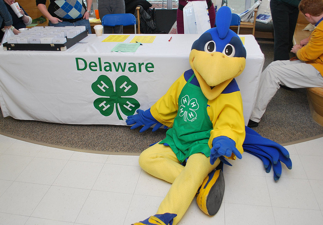 YoUDee mascot wearing a 4-h apron