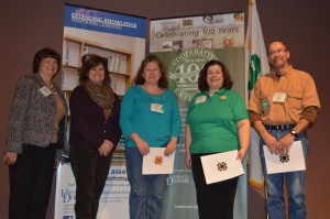 Delaware 4-H Salute to Excellence winners, from left to right: Michelle Rodgers, UD Extension, Joanne Carter, Kim Klair, Patricia Leach, Clyde Mellin. Not available for photo: Sharon Anderson, Elaine Webb