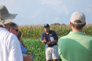 Mark VanGessel led half the tour to herbicide trials in soybean and corn,
