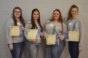 1st Place Senior Team- Buckin Beauties-  L to R Rebecca Arpie, Jackie Arpie, Whitney Records, Mikayla Ockels