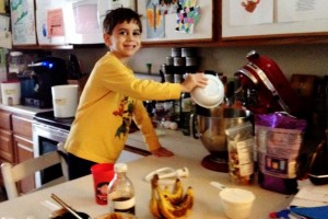 Finnegan Stephan, age 5, making banana bread.