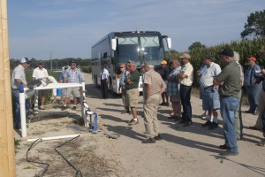 Visitors at UD Warrington Farm hear a presentation about subsurface irrigation in 2012